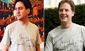 Ed Miliband and Nick Clegg wear the Fawcett Society's feminist T-shirt.